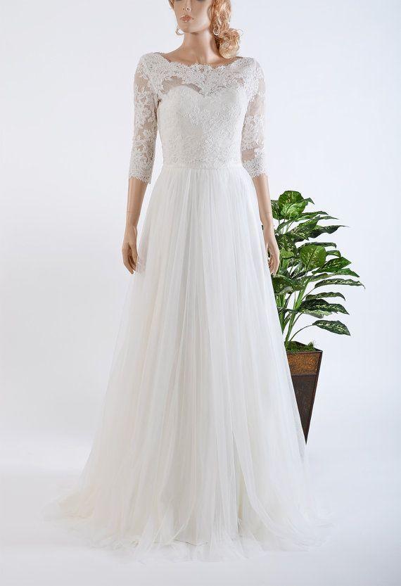 Ivory lace wedding dress with tulle skirt, 3/4 sleeve lace bolero ...