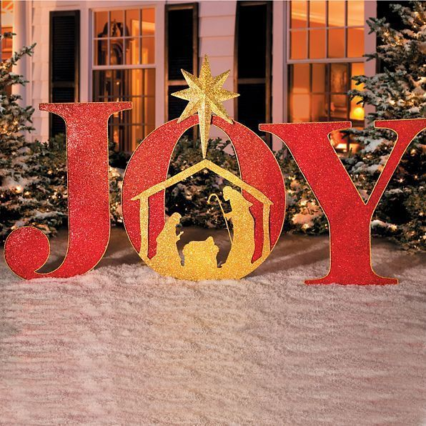 Christmas Sign Decorations: Christmas Metal Holy Family Lighted Outdoor Yard Nativity