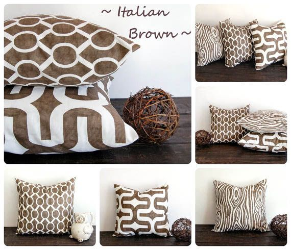 Italian Brown Throw Pillow Cover 20 X 20 One Cushion Cover Italian Brown And White Pillow Sha Brown Pillow Covers White Throw Pillow Covers Brown Throw Pillows