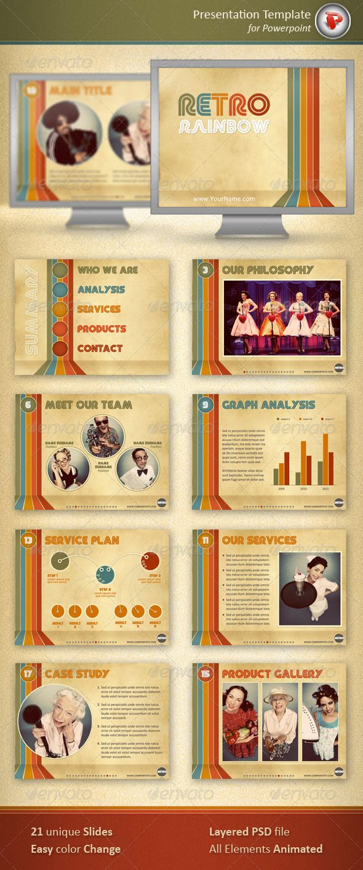 retro rainbow powerpoint template pinterest presentation