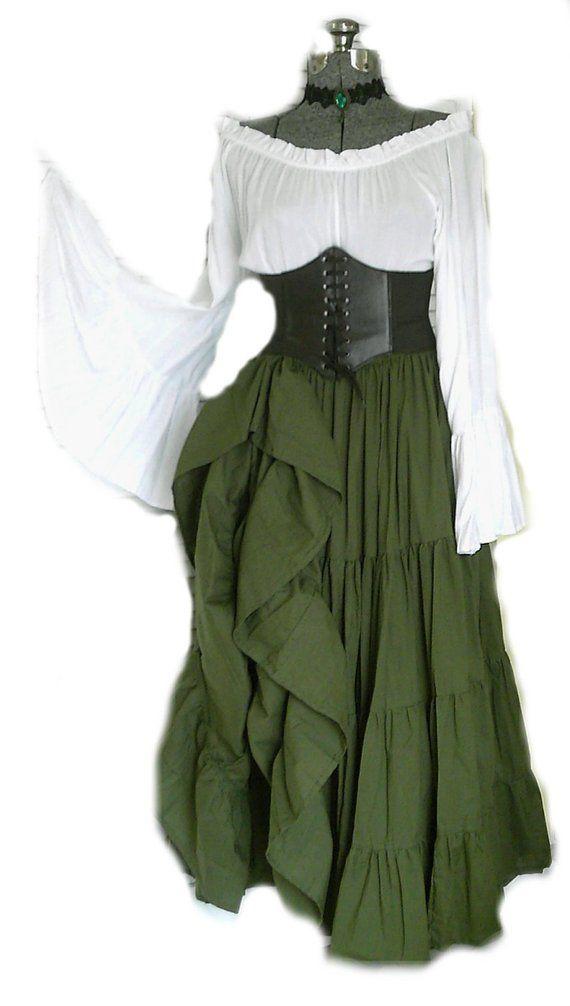 97a0cc8feae Green Renaissance Pirate Gypsy Dress Chemise Corset Outfit Waist Cincher 4  pcs Wench Steampunk Costu