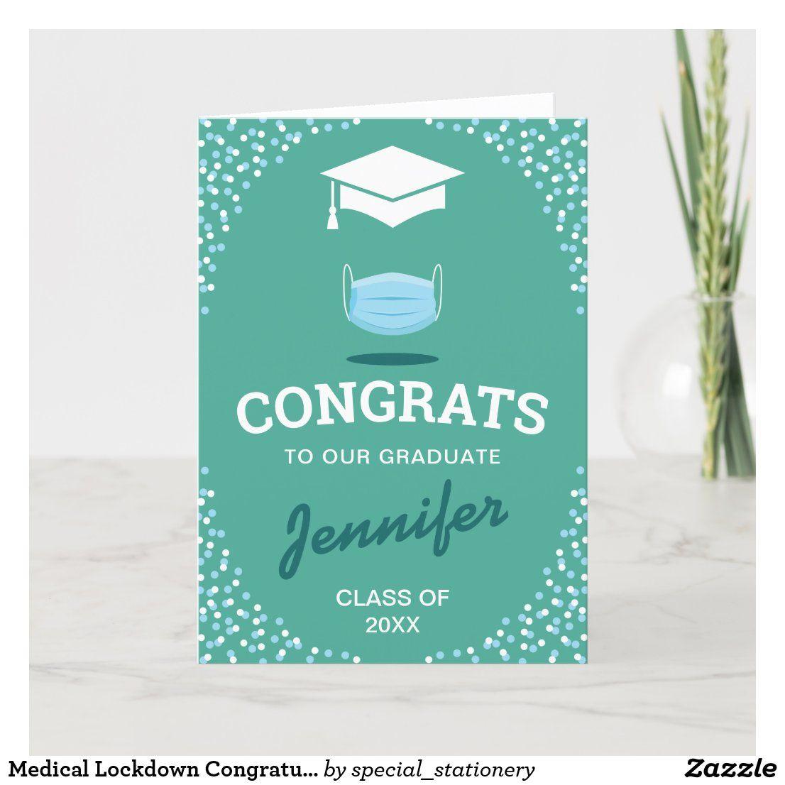 medical lockdown congratulations graduate card  zazzle