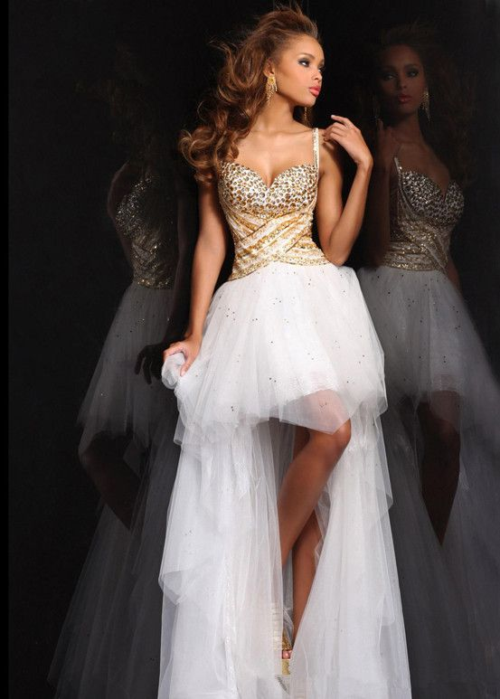 Gold Sequin High Low Prom Dresses