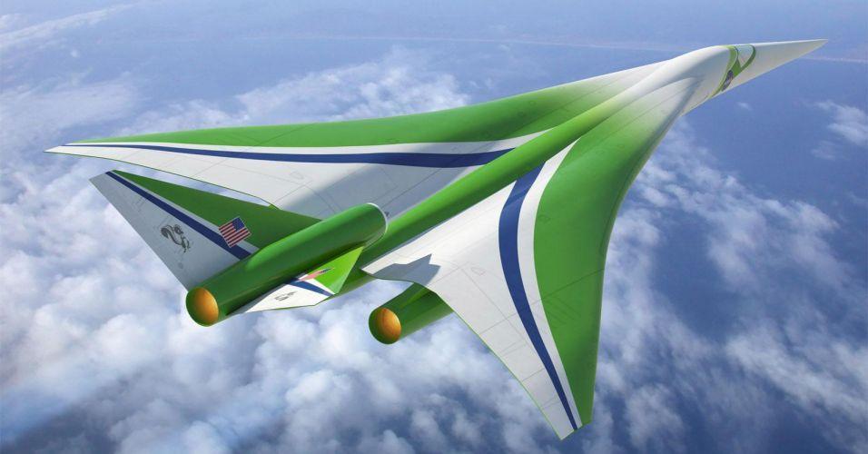 Criar aeronaves que atinjam velocidades supersônicas e não produzam tanto barulho é um dos desafios dos engenheiros da Nasa. O design deste modelo foi criado com o objetivo de diminuir o atrito com o ar