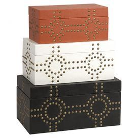 "Showcasing eye-catching metal studs, these striking trinket boxes bring a stylish touch to your entryway console table or master suite vanity.  Product: Small, medium and large trinket boxConstruction Material: Engineered wood, polyurethane and metalColor: Black, white and orangeFeatures: Nailhead studsDimensions: Small: 5.75"" H x 13"" W x 6.75"" D Medium: 7"" H x 15"" W x 8.5"" D Large: 8.25"" H x 17"" W x 10"" D"