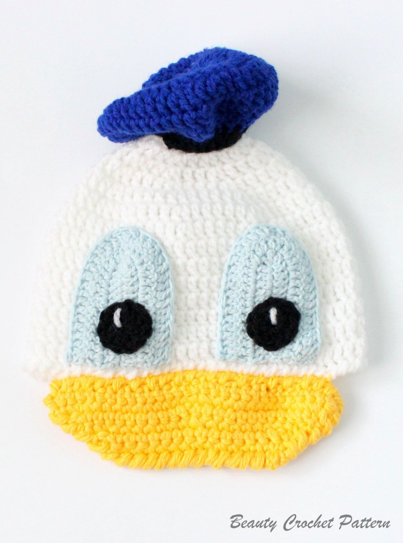 Crochet Pattern Donald Hat Character Crochet Hat Pattern, Crochet ...
