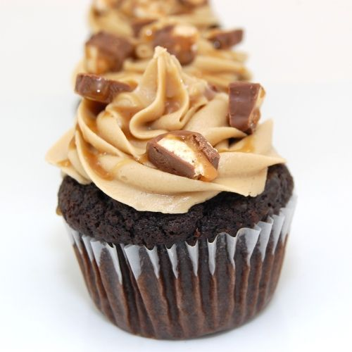Snickers cupcake from scratch; awesome chocolate cake and carmel recipes