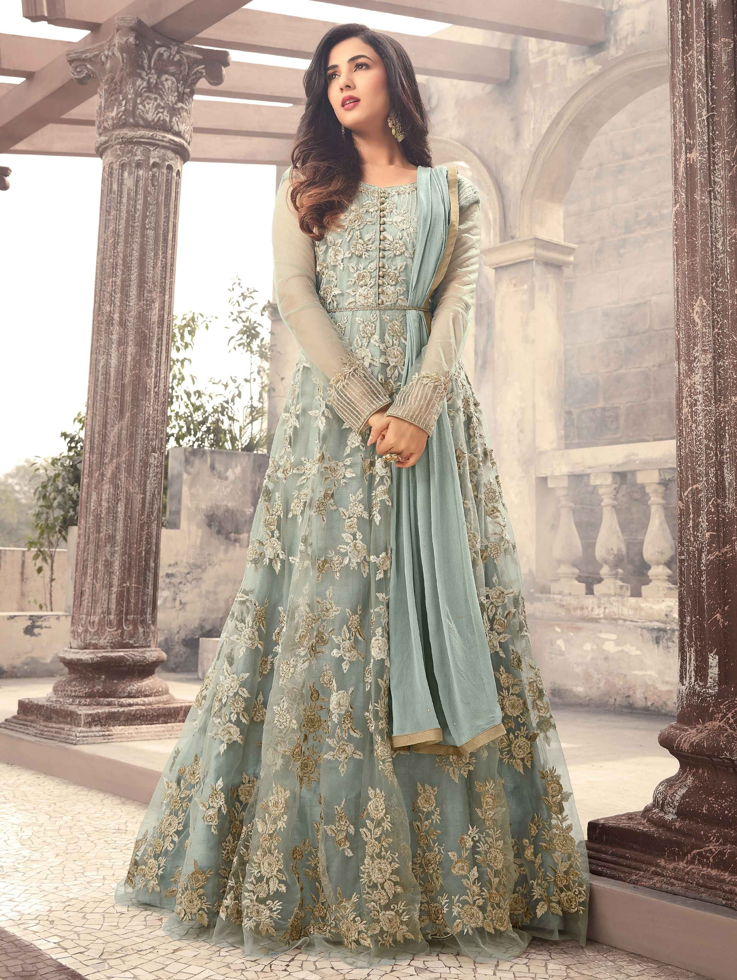 83ef512d9519e Buy Sonal Chauhan Sea Green Net Anarkali Suit With Thread Work - SKDAG3318