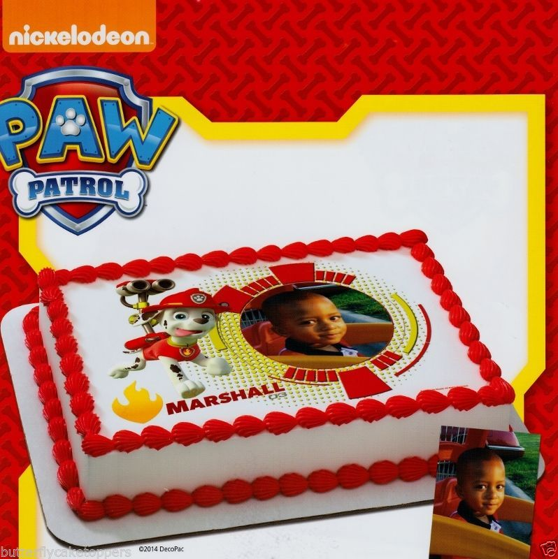 Paw Patrol Marshall Add Your Picture Edible Image Frosting Sheet Cake Topper