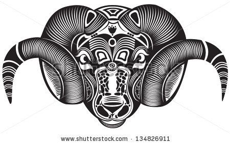 Vector Illustration Of A Totem Animal Tattoo Ram By Soosh Via Shutterstock Animal Tattoo Ram Tattoo Totem Tattoo