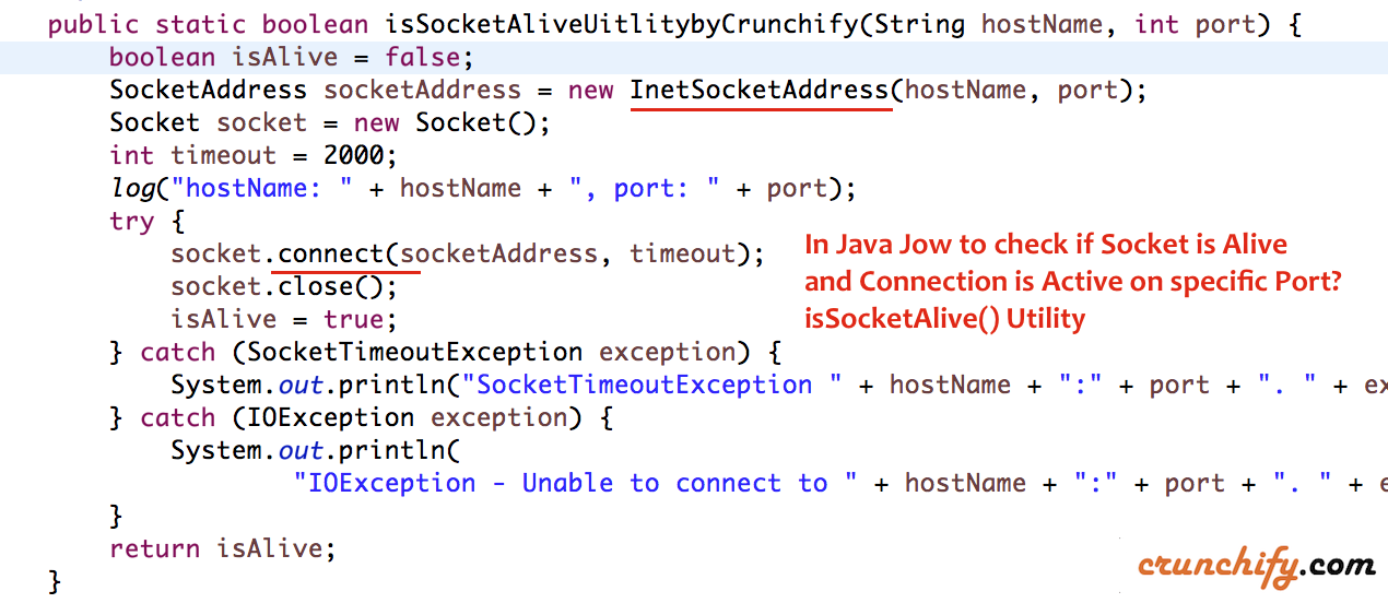 In Java How To Check If Socket Is Alive Connection Is Active On Specific Port Issocketalive Utility Crunchify Connection Sockets Port