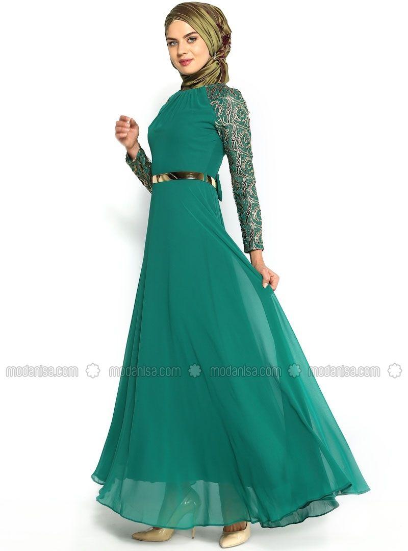 Coating Gilded Lace Chiffon Dress - Green - Muslim Evening Dresses - Modanisa