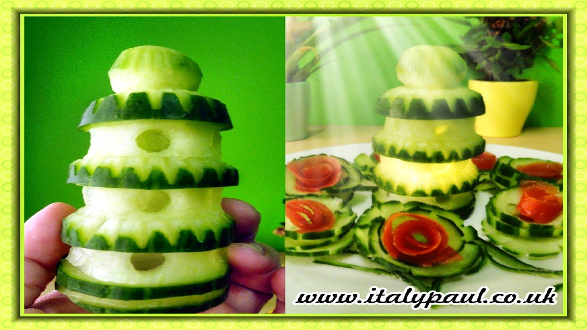 Vegetable carving step by step procedure - Art In Cucumber Show Vegetable Carving Tower Garnish