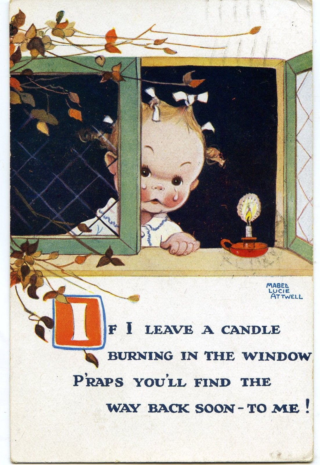 Mabel Lucie Attwell If I Leave A Candle Artist Drawn Postcard | eBay