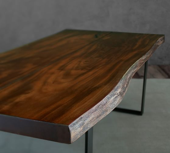 Two Mahogany Planks With Live Edges Along Their Length Give Our Rustic Coffee  Table Its Unique Character.