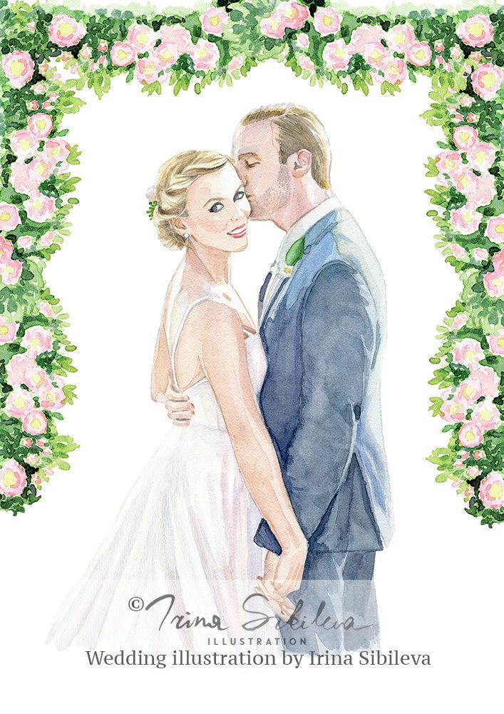 Wedding Portrait Custom Wedding Illustration Engagement Portrait