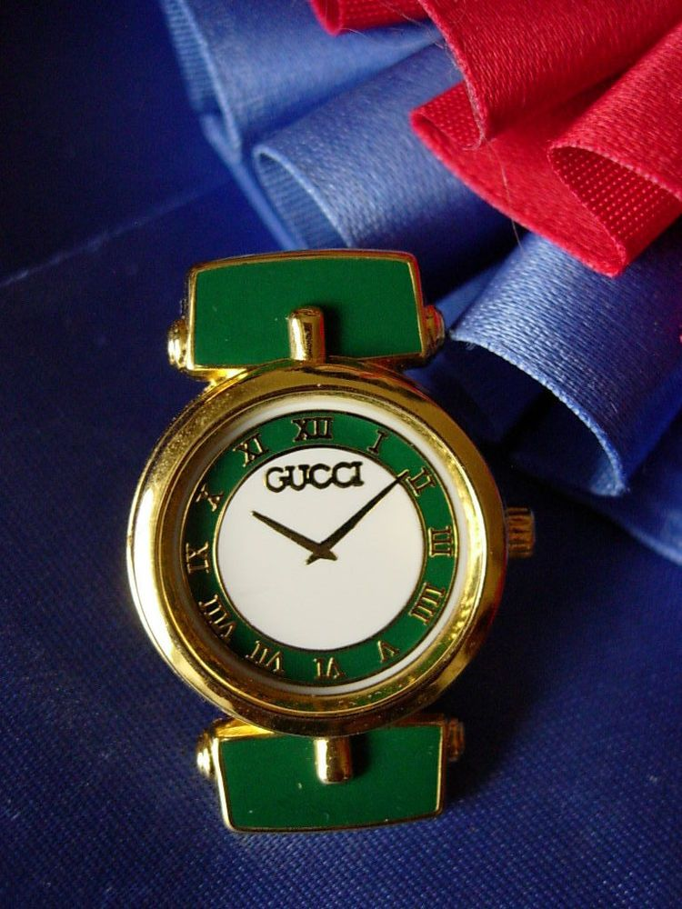 a122a424890 Ultra RARE Vintage GUCCI Enamel Watch Face PIN Jewelry Couture Italian GG  NICE  Gucci