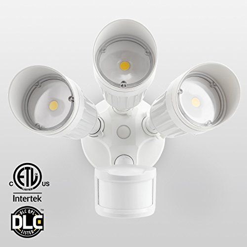 Led Outdoor Flood Light Bulbs Fair 30W 3Head Motion Activated Led Outdoor Security Light Photo Sensor Inspiration Design