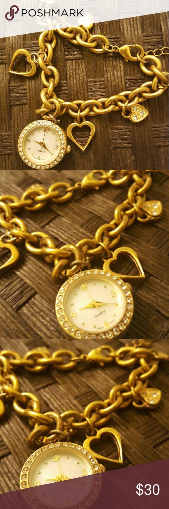 Charm watch/bracelet Gold Vintage style looks great on Jewelry Bracelets