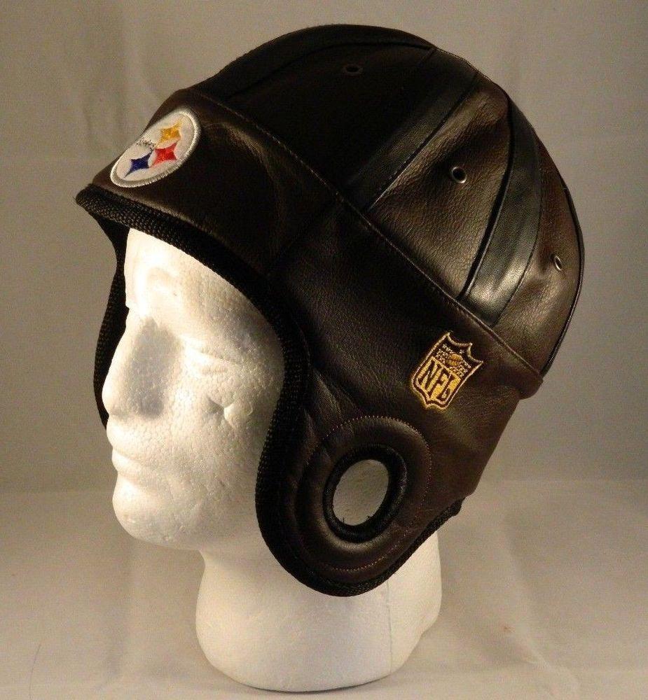 37b5183a1 Reebok NFL Pittsburgh Steelers Vintage-Looking Helmet Hat Leather ...