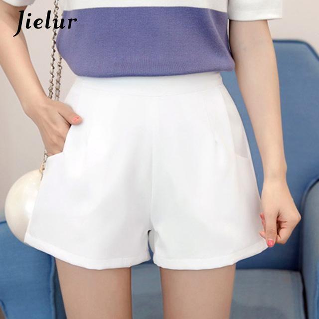 2019 Pockets Beading White Black Ol Summer Bottom Kpop Chiffon Soft Shorts Pure Color Shorts WHITE XL #chiffonshorts
