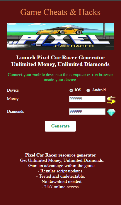 Pixel Car Racer Hack (Money and Crystals) Codes and Cheats
