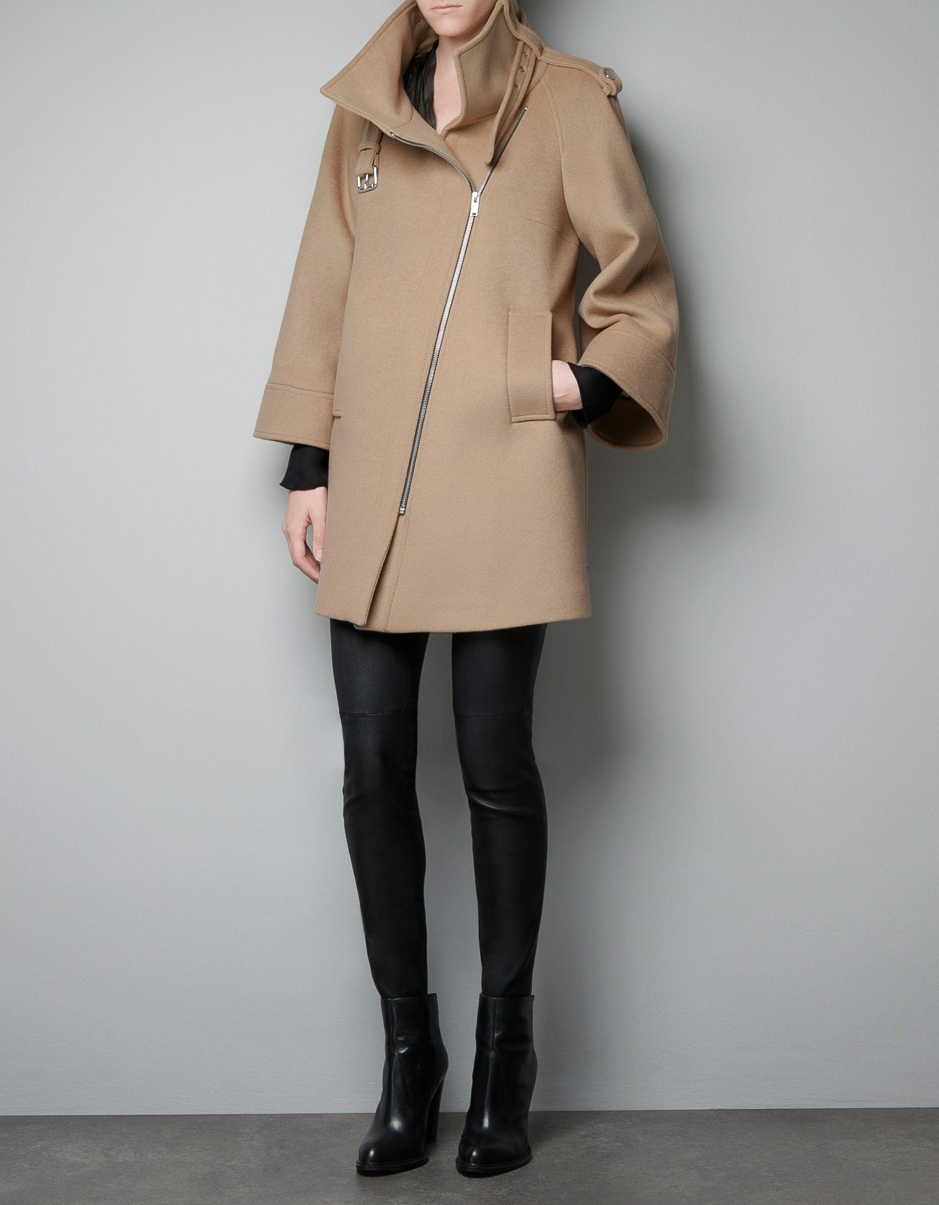 Camel Color CAPE ZIP COAT - Coats - Woman - ZARA United States ... cc5a255f7