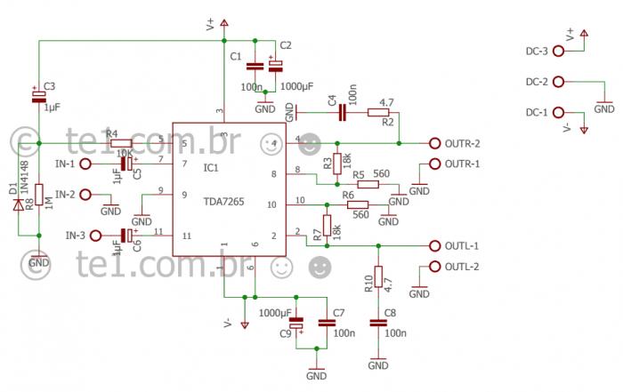 Amplificador Estereo Tda7265 Potencia Esquema 700x441 Circuito De