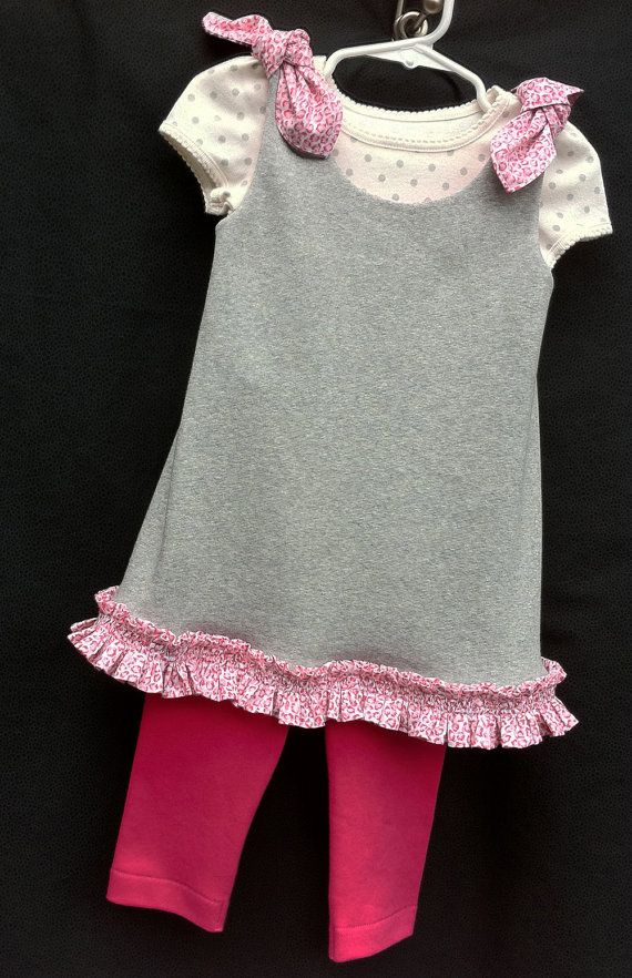 Grey and Pink Swing Dress | Cute baby outfits | Pinterest