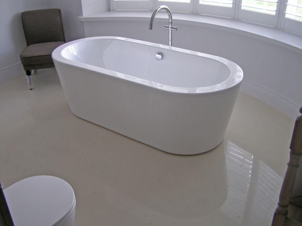 Concrete floor in bathroom