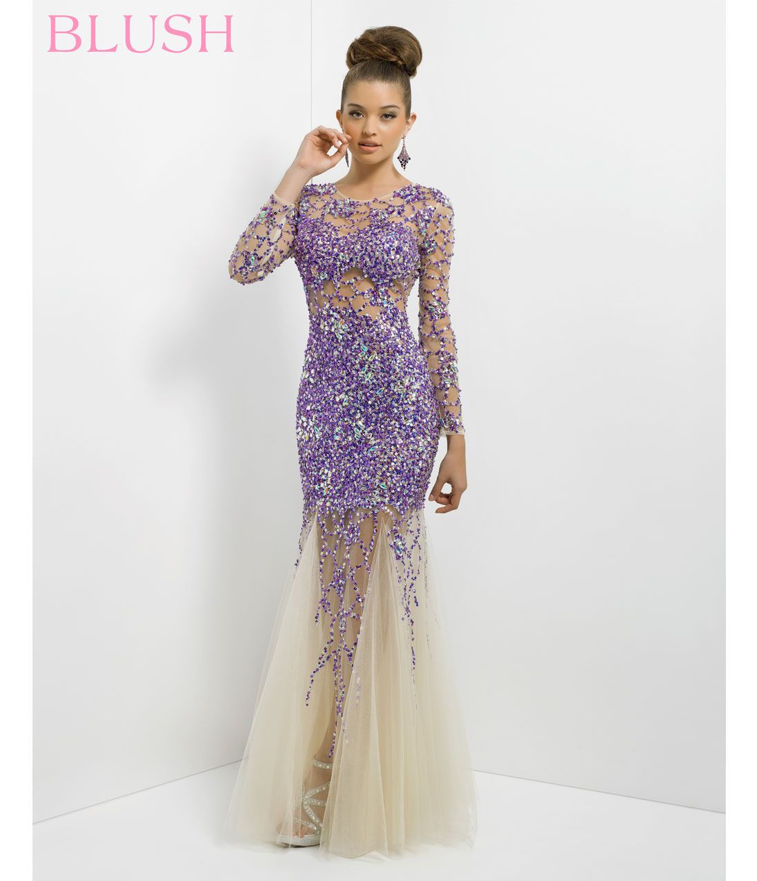 Purple long dresses for prom