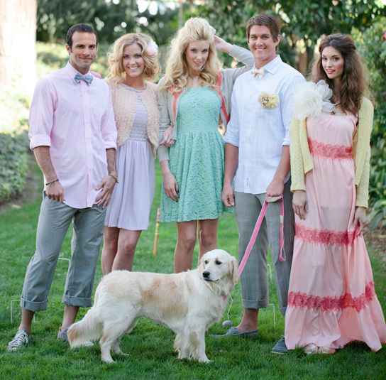 Here Comes the Bridal Party- love this preppy eclectic bridal party.