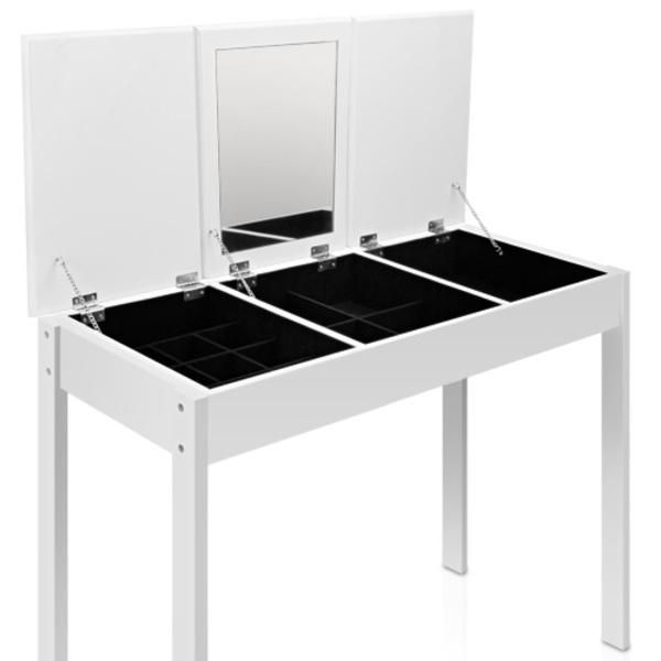 3 Drawer Dressing Table Make Up Cabinet w/ Mirror White main product photo