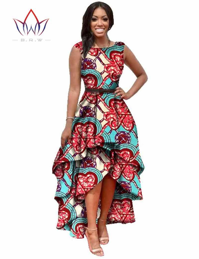 0d41e4f12 2016 Larga Dessses Mujeres se Visten de Moda Maxi Marca Ankara Dashiki  Africano Bazin Vestidos para Mujeres Vestidos Cascading RuffleWY447 en  Vestidos de ...
