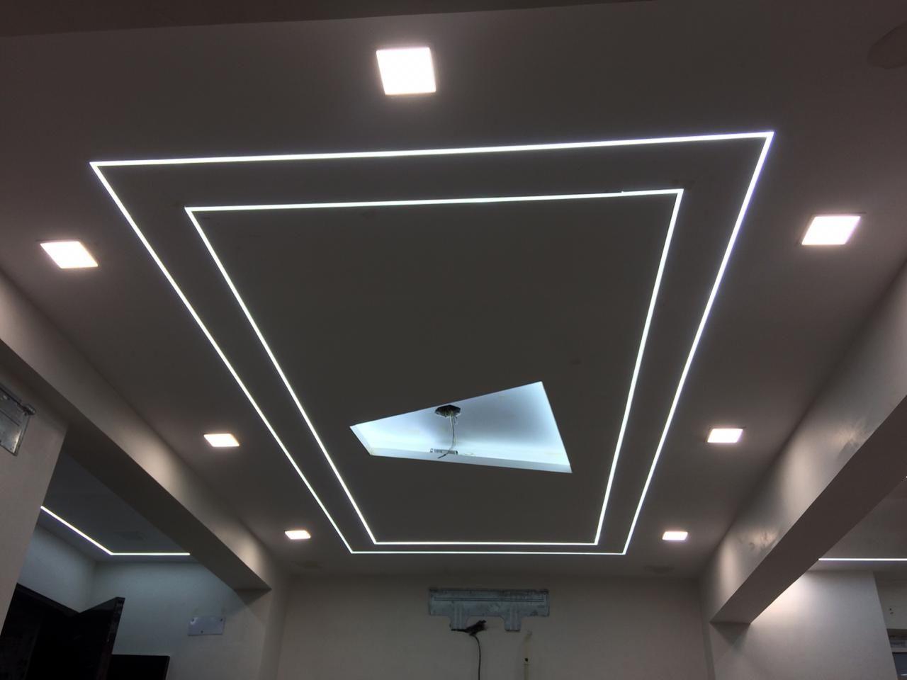 Elegant Linear Lighting Design In Pop Roof False Ceiling Design Linear Lighting Ceiling Design