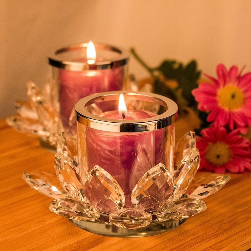2 crystal lotus candle holders lotus flower candle
