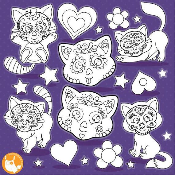80 OFF SALE Sugar Skull Cats Digital Stamp Commercial Use