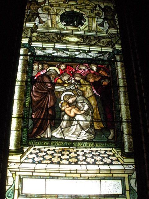 Stained glass window 'The Birth of Christ' by Edward Burne-Jones in the Chapel at Castle Howard, ca. 1860s. It's 1 of 4 panels telling the story of the annunciation, the birth of Christ, the adoration of the magi, & the flight into Egypt.  Yorkshire, England, UK