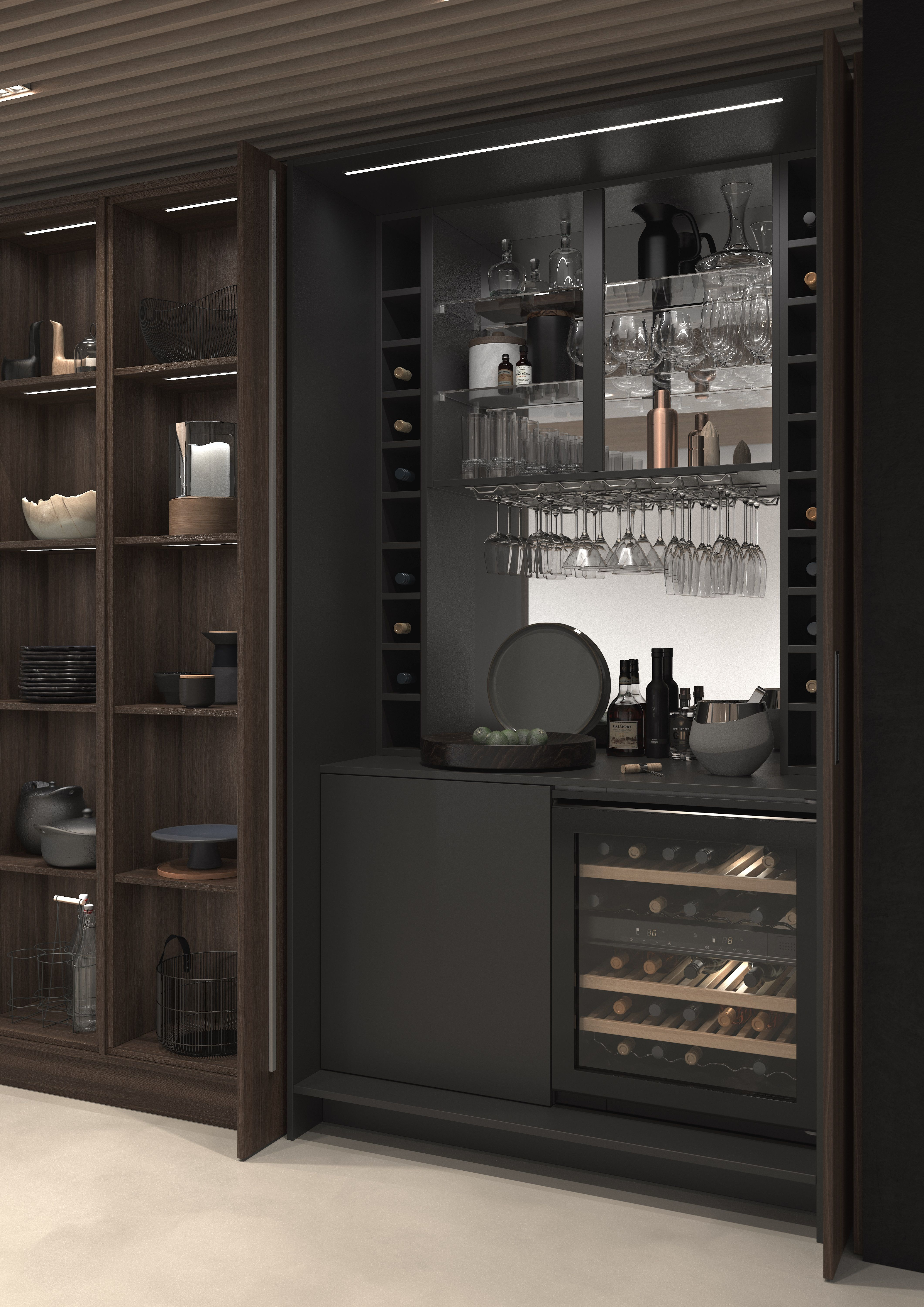 Feature pocket door drink station with combination of ...