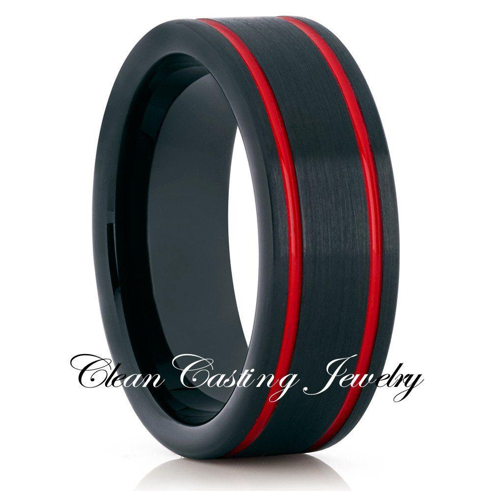 8mm Red Tungsten Wedding Band  Red Wedding Ring  Tungsten Ring Brush