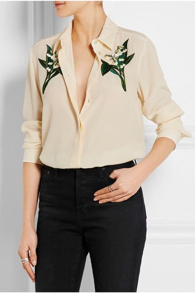 f47c2ab84592e3 STELLA MCCARTNEY - Embroidered silk crepe de chine shirt - €895      Ecru  silk crepe de chine Partially concealed button fastenings through front  100% silk  ...