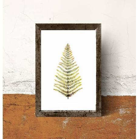 Impresión digital de motivos botánicos sobre papel. Dibujo de helecho en colores verdes y ocres.