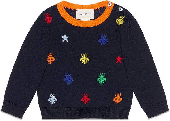 2c465c7cc Gucci Kids Baby bees and stars jacquard merino sweater