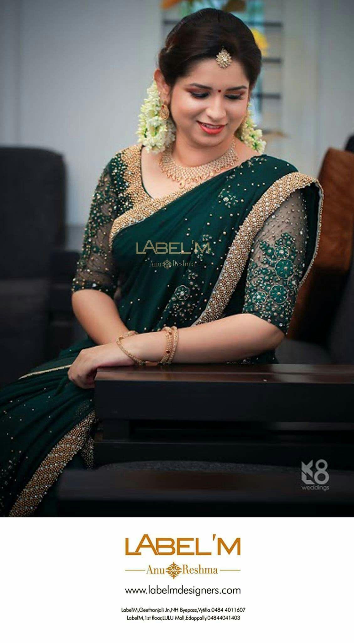 8ca69649b1038 I love emerald colored sarees!!!