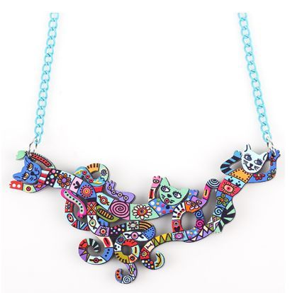 Fashionable Cat Necklace Multicolored Jewelry