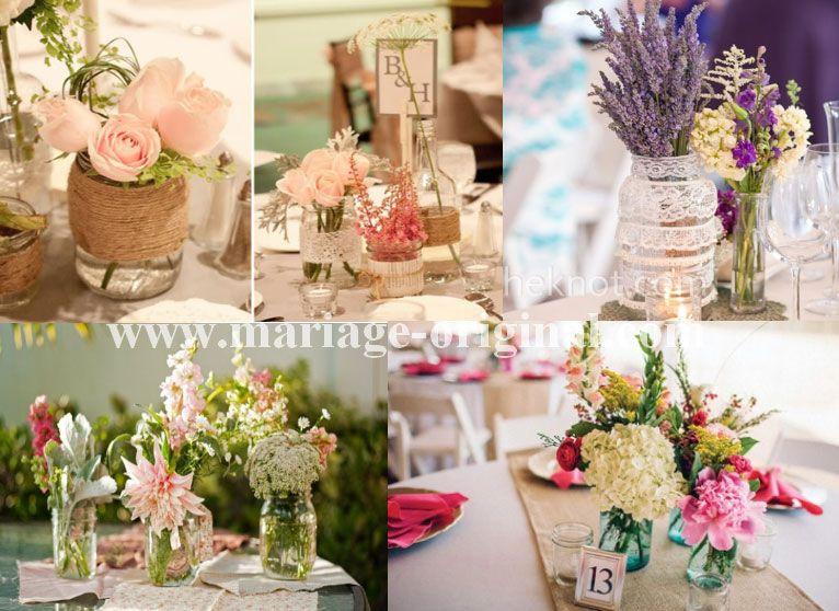 centre de table mason jar bouquet de table mason jar deco pinterest centres de table. Black Bedroom Furniture Sets. Home Design Ideas