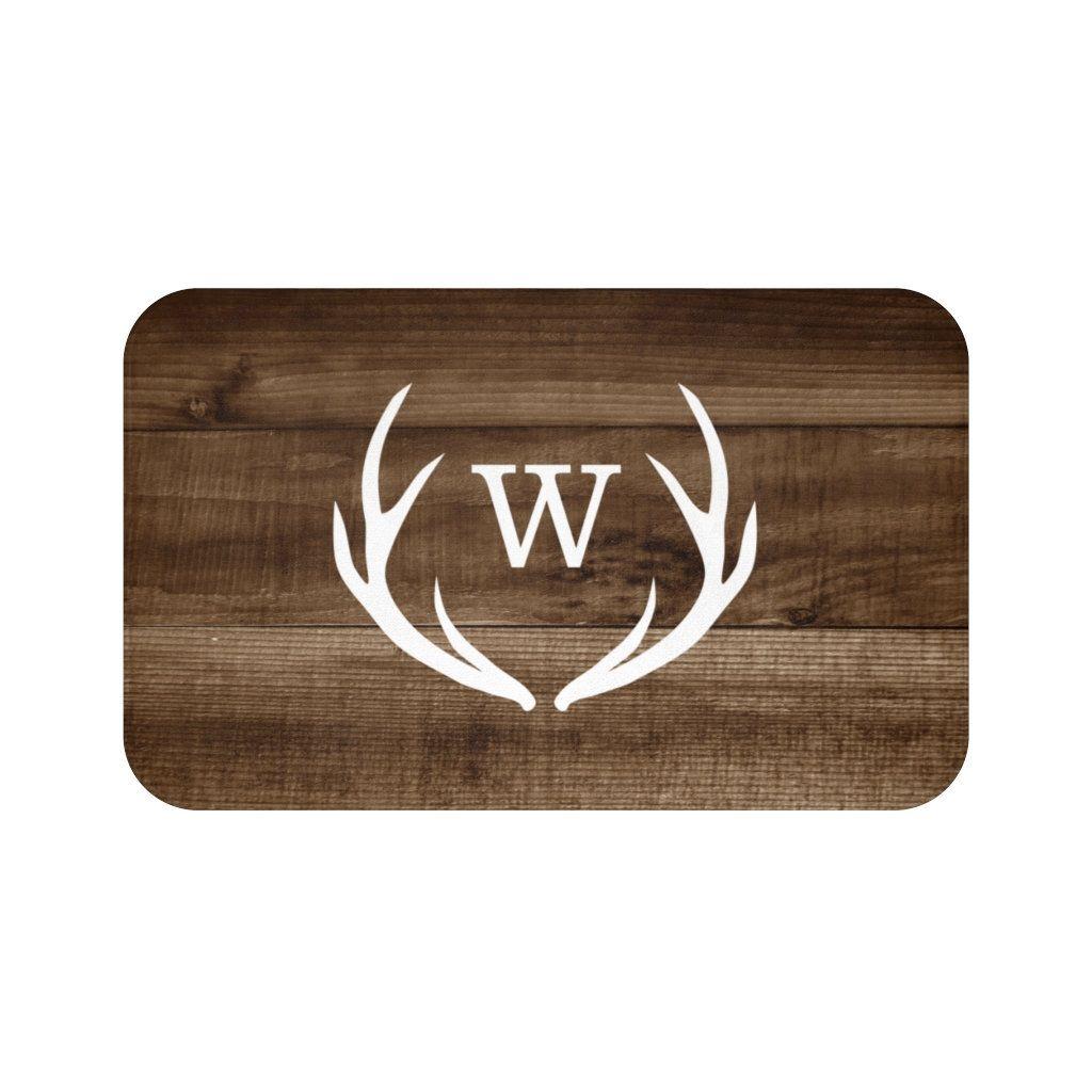 Brown farmhouse kitchen floor mat antler bath mat monogram