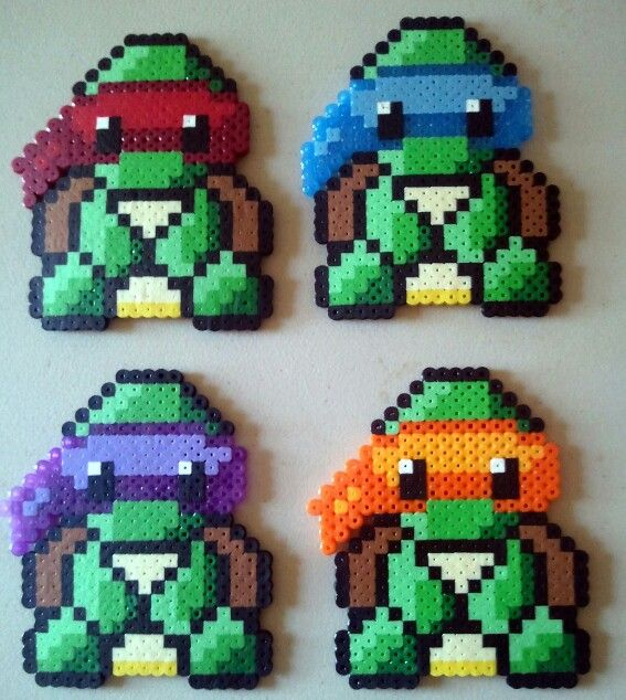 Ninja Turtles Perler Bead Pattern Used With Fuse Beads, Hama Beads And  Perler Beads