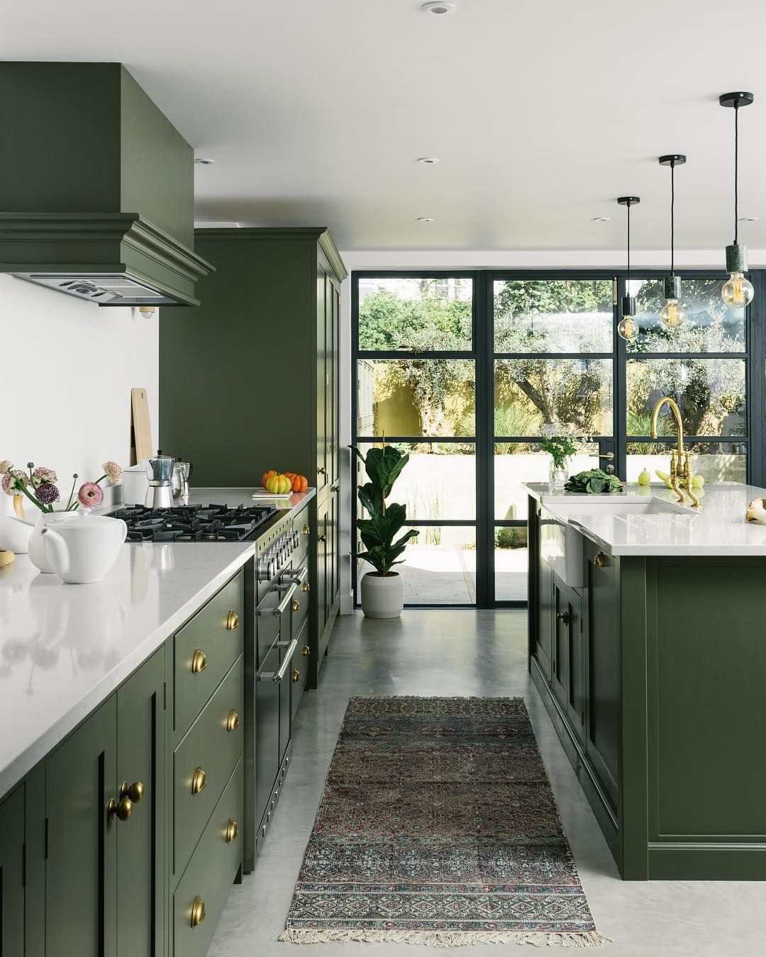 Devol Kitchens On Instagram A Bespoke Olive Green Paint Colour Beautiful Brass Handles And Kitchen Interior Green Kitchen Cabinets Green Kitchen Inspiration