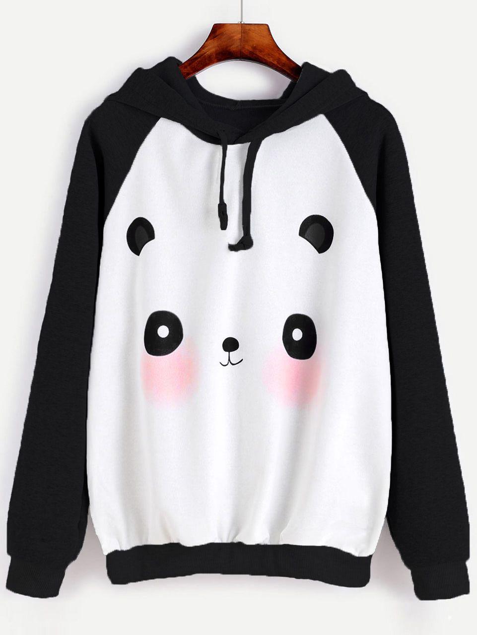 da7a70306 Shop Cartoon Panda Print Raglan Hoodie online. SheIn offers Cartoon Panda  Print Raglan Hoodie & more to fit your fashionable needs.